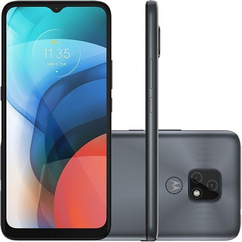 Smartphone Motorola Moto E7 32GB 4G Wi-Fi Tela 6.5 Dual Chip 2GB RAM Câmera Dupla Selfie 5MP Cinza Metálico