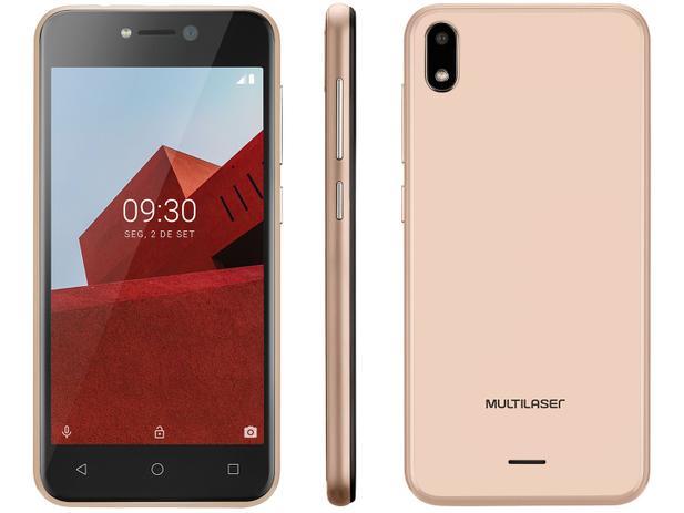 Smartphone Multilaser E P9129 32GB Dourado 3G Quad-Core 512MB 5 Câmera 5MP Dual Chip