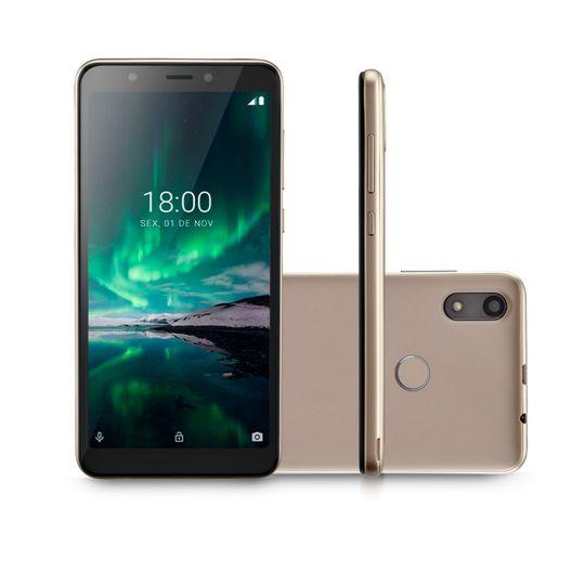 Smartphone Multilaser F PRO P9119 Dourado Tela 5.5 4G Wi-Fi Android 9 Câmera Traseira 5MP+5MP e Frontal 16GB 1GB RAM