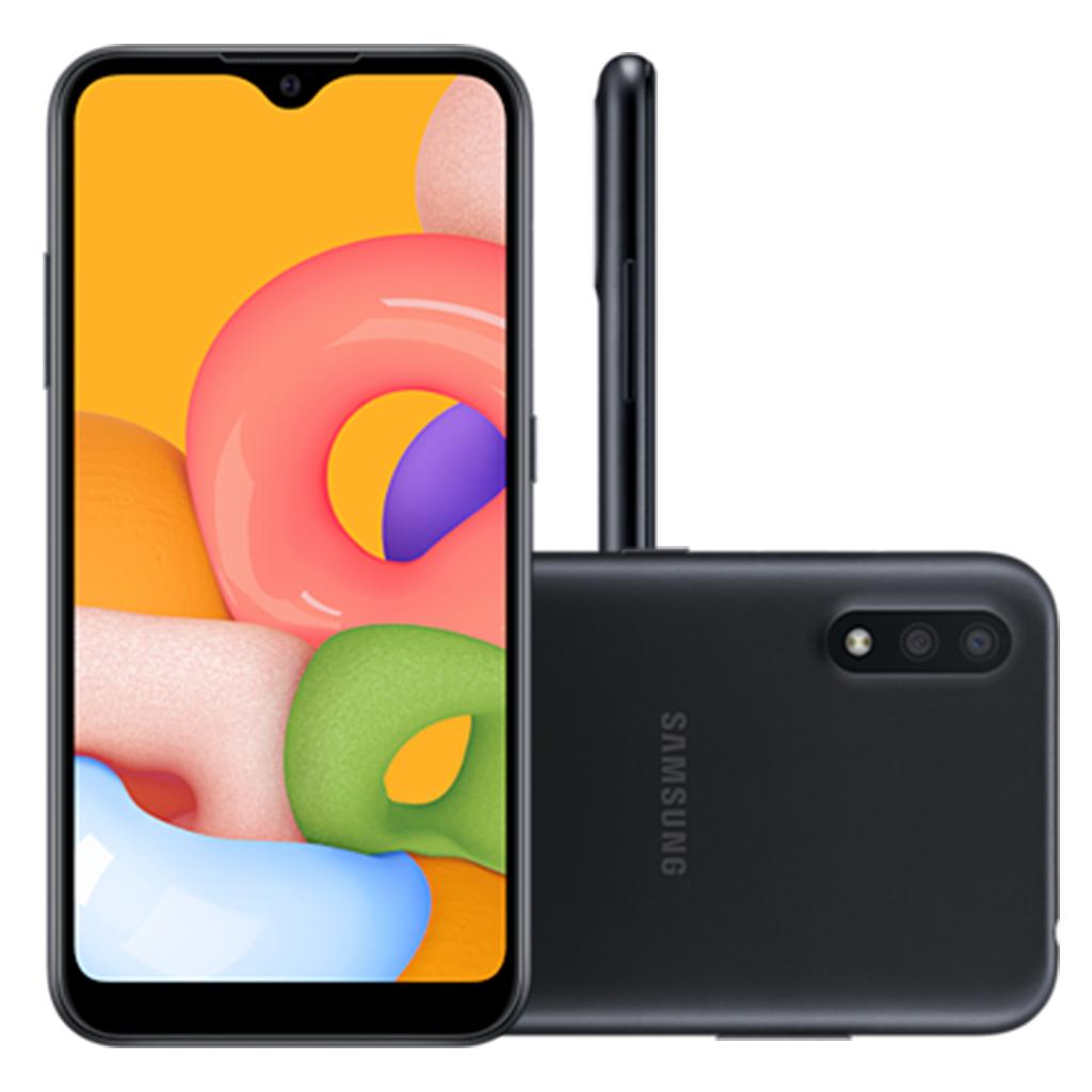 Smartphone Samsung Galaxy A01 32GB, Tela Infinita de 5.7, Câmera Dupla, Android 10.0, Dual Chip e Octa-Core Preto