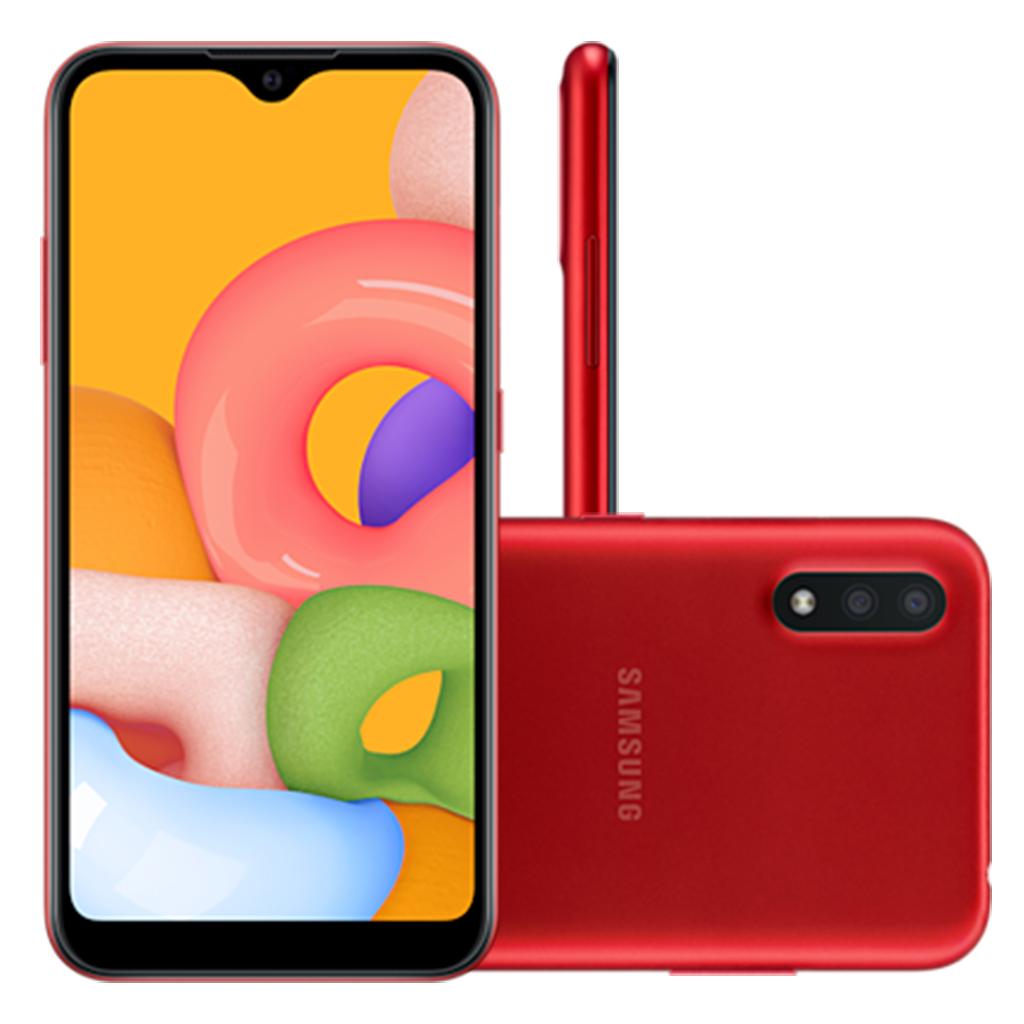 Smartphone Samsung Galaxy A01 32GB, Tela Infinita de 5.7, Câmera Dupla, Android 10.0, Dual Chip e Octa-Core Vermelho
