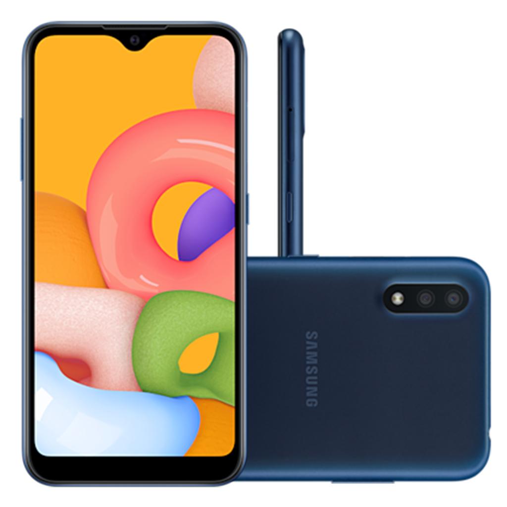 Smartphone Samsung Galaxy A01 32GB, Tela Infinita de 5.7, Câmera Dupla, Android 10.0, Dual Chip e Octa-Core Azul