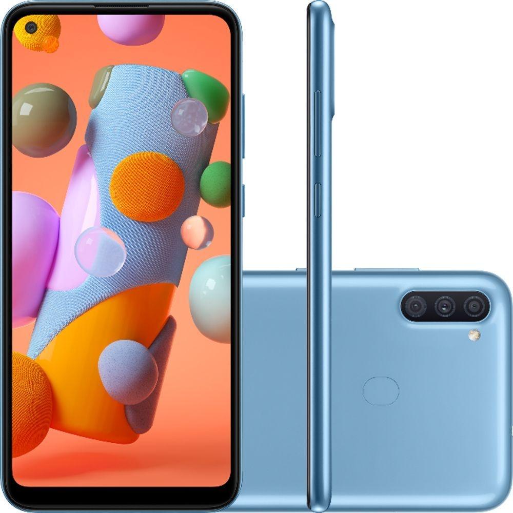 Smartphone Samsung Galaxy A11 64GB Tela 6.4 Octa-Core 4G Câmera Tripla 13MP+5MP+2MP Azul