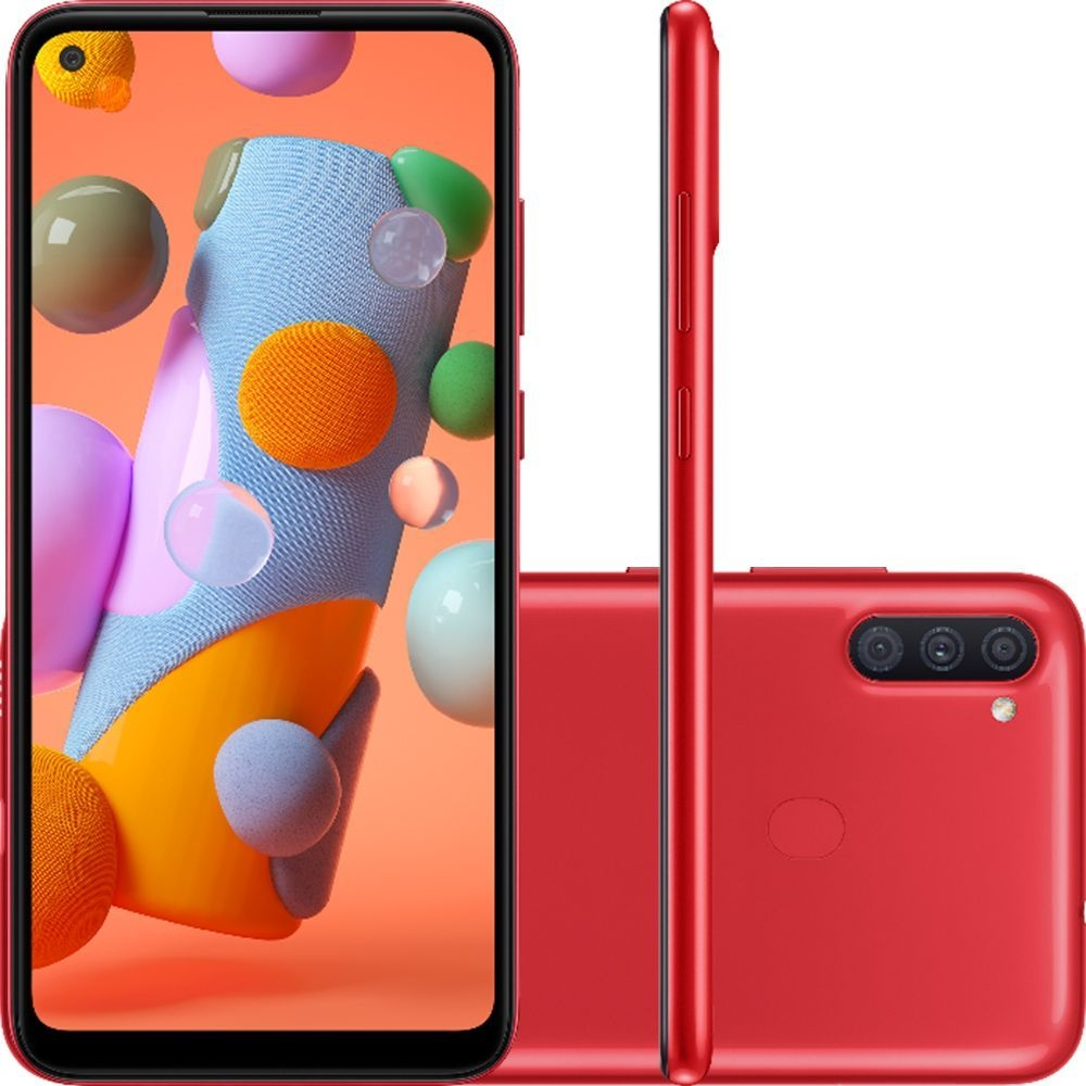 Smartphone Samsung Galaxy A11 64GB Tela 6.4 Octa-Core 4G Câmera Tripla 13MP+5MP+2MP Vermelho