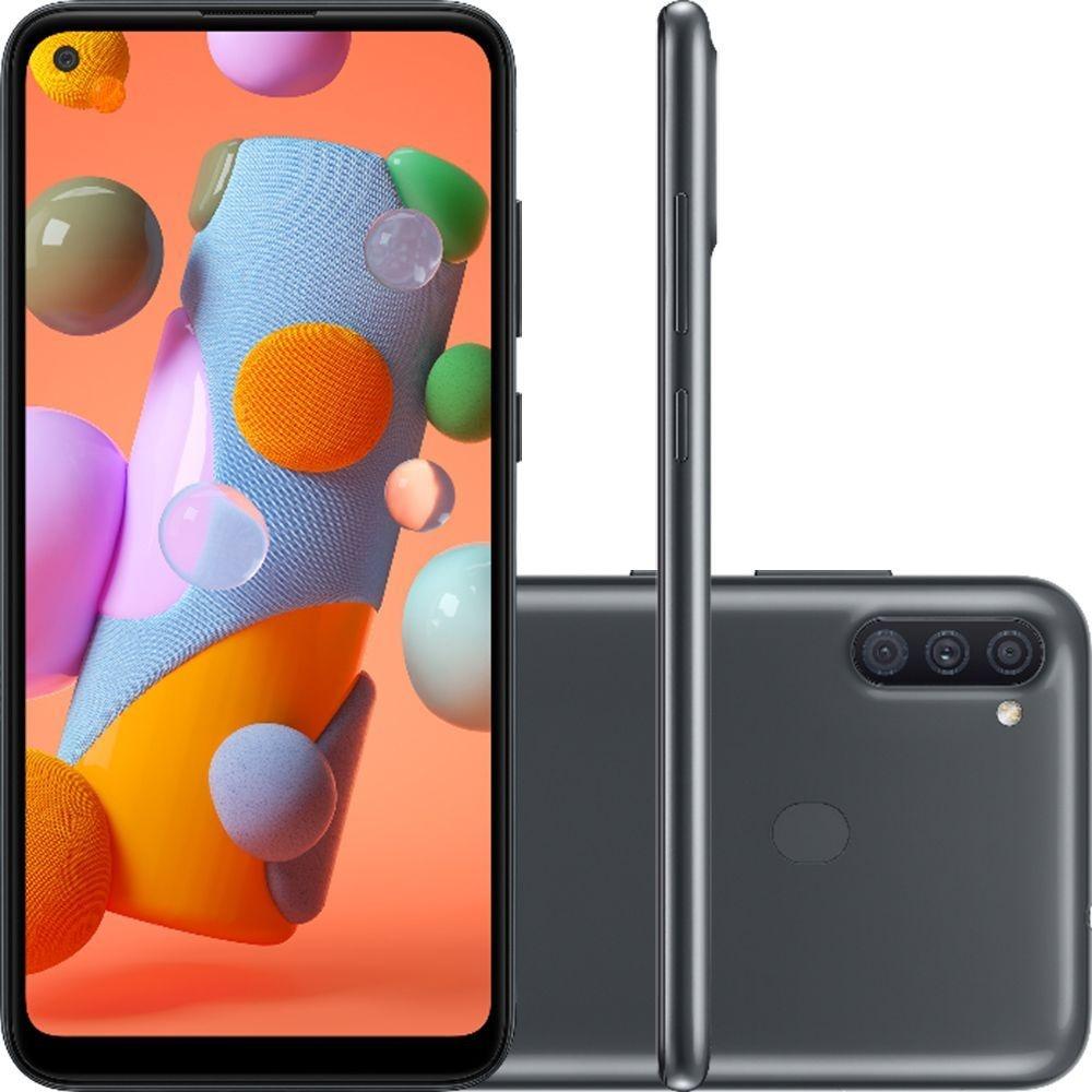 Smartphone Samsung Galaxy A11 SM-A115M 64GB Dual Chip Android 10 Tela 6.4 Octa-Core 4G Câmera Tripla 13MP+5MP+2MP - Preto