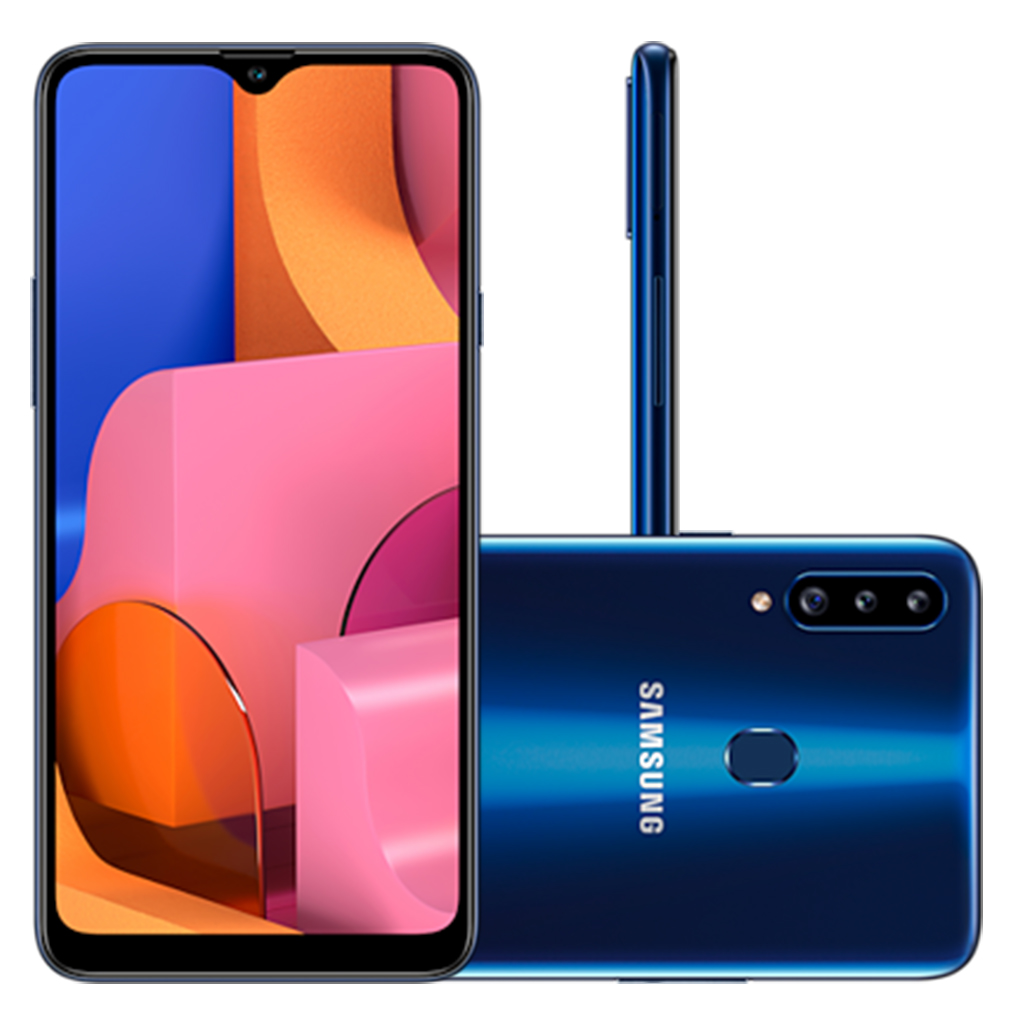 Smartphone Samsung Galaxy A20s 32GB Dual Chip Android 9.0 Tela 6.5 Octa-Core 1.8 GHz 4G Câmera Tripla 13.0 MP + 5.0 MP + 5.0 MP(UW) - Azul