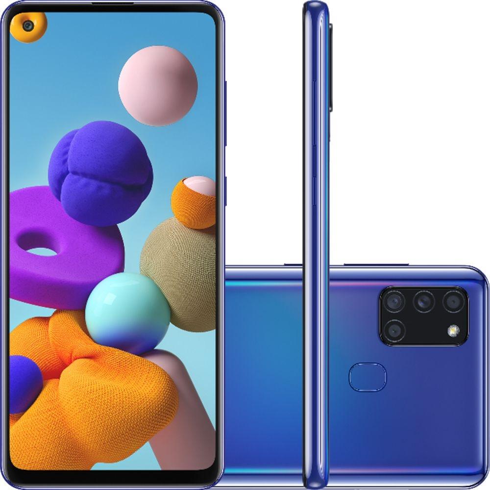 Smartphone Samsung Galaxy A21s 64GB Dual Chip Android 10 Tela 6.5 Octa-Core 4G Câmera Quádrupla 48MP+8MP+2MP+2MP Azul