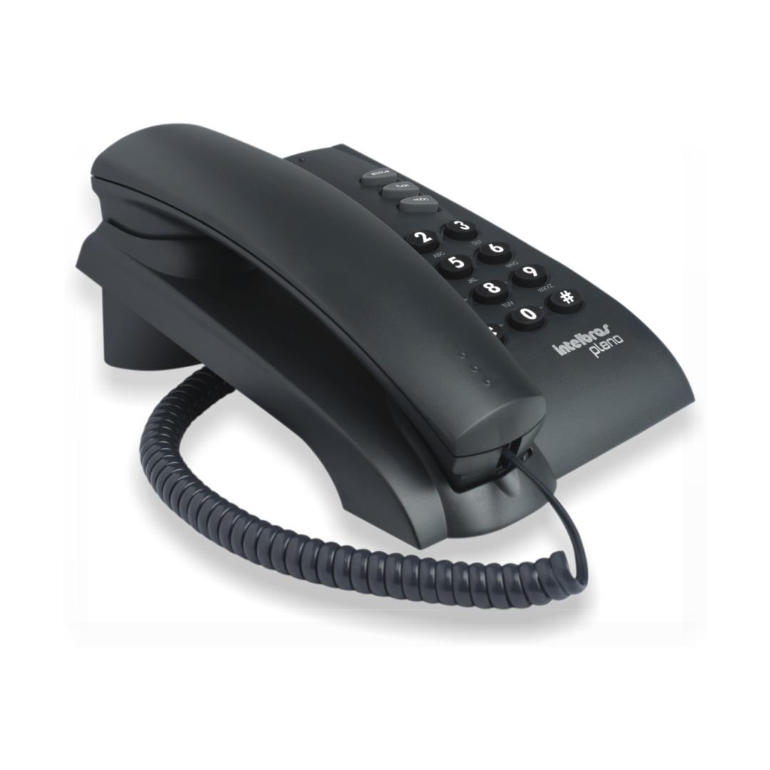 Telefone com Fio Pleno Preto - Com Chave, Função Flash, 2 Tipos de Toque, 3 Volumes - Intelbras